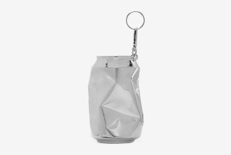Silver Half Crushed Can Keychain by Raf Simons
