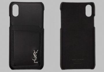 Saint Laurent Black Leather Monogramme iPhone Case